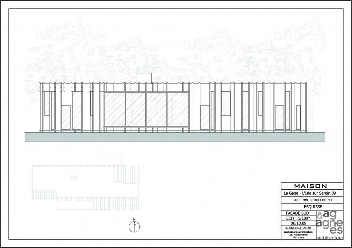 Maison à ossature bois : façade sud