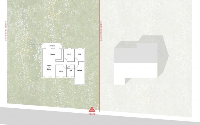 Re-interprétation pavillonnaire : plan Rdc existant