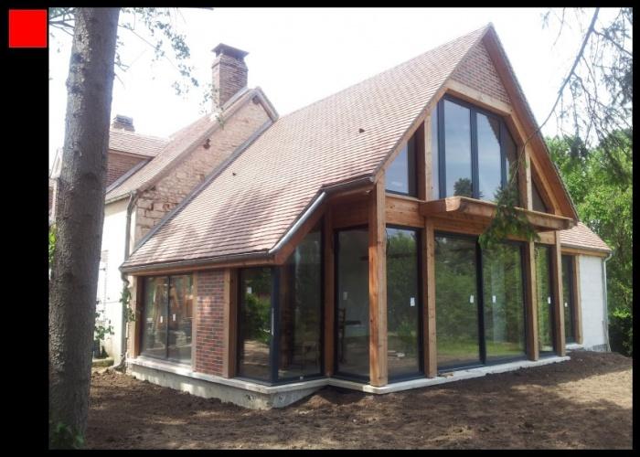 extension bois d 39 une maison traditionnelle chassy. Black Bedroom Furniture Sets. Home Design Ideas