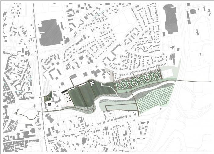Interprétation pavillonnaire : plan masse urbain