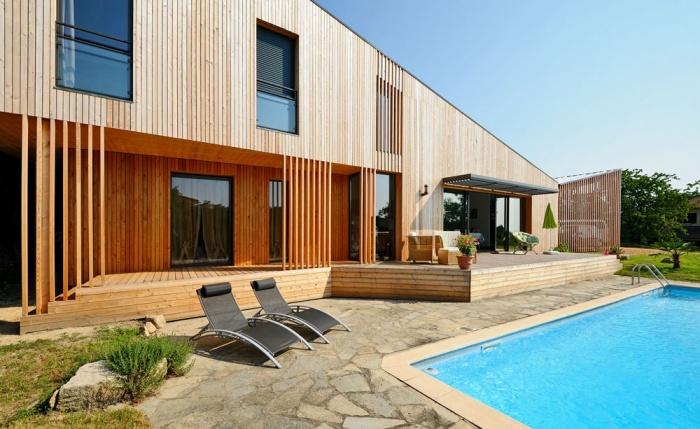 Maison contemporaine bois & ouate de cellulose / Basse énergie
