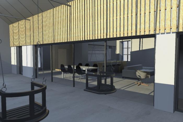 ##Réhabilitation d'une ancienne usine de tissage en logement## : Vue depuis le jardin d'hiver