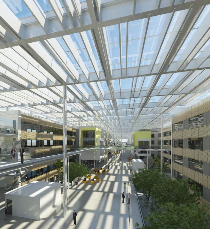 Centre de recherches, bureaux, salles de conférences, restaurant d'entreprise : RDI6_Perspective_Passerelle