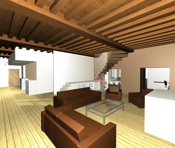 Rénovation complète d'un appartement en duplexe sous les combles. : 3-1